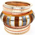 Multi Colored Bracelet Bangle Stackable Various Hoops Acrylic 3 Inch Width 2432-5542THMLT