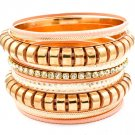 Peach Bracelet Bangle Stackable Metal Casting Various Hoops Prong Set 2 Inch Width 2432-8001GDPEA