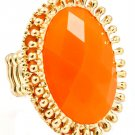 Orange Ring Adjustable Stretch Metal Casting Oval Stud Formica Faceted 1 1 2 Inch  251818-10305GDORG