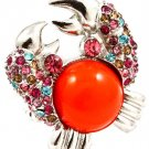 Multi Colored Ring Adjustable Stretch Crystal Studs Crab Formica Cabochon 1 1 2 In 251818-20479RDMLT