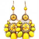 Yellow Earring Fish Hook Crystal Studs Formica Oval Enamel Texture 3 Inch Drop 25185-2006BOYEW