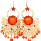 Orange Earring Fish Hook Cresent Crystal Studs Formica Studed Bead Bead Faceted 3 In 25185-5721GDORG