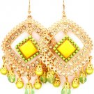 Yellow Earring Fish Hook Studed Bead Formica Diamond Shape Bead Faceted Filigree 2 1 25185-5723AGYEW