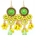 Yellow Earring Fish Hook Crystal Studs Acrylic Stone Studed Bead Mesh Chain Faceted  25185-5724AGYEW