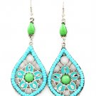 Turquoise Earring Fish Hook Tear Drop Studed Bead Formica Enamel Texture 2 1 2 Inch  25185-9214RDTUQ