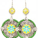 Green Earring Fish Hook Studed Bead Flower Enamel Texture 2 1 4 Inch Drop 25185-9216RDGRN