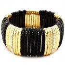Black Bracelet Stretch Crystal Studs Acrylic 1 Inch Width 41152-0069GDBLK