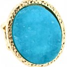 Turquoise Ring Adjustable Stretch Sutd Oval Formica 1 1 4 Inch Tall 4131918-9952GDTUQ