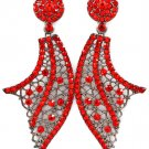 Red Earring Post Earring Crystal Studs Abstract Shape Pave Set 3 Inch Drop 415255-99395BNRED