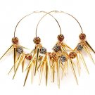 Brown Earring Pin Catch Hoop Celebrity Inspired Fireball Spikes Horns Various Size S 11315-2181GDBOB