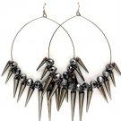 Black Earring Fish Hook Hoop Beads Spikes Various Spike Sizes 3 1 2 Inch Hoop 5 1 2  11315-2191BNBKA