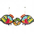 Multi Colored Earring Fish Hook Fish Enamel 17 Mm Drop Nicekl And Lead Compliant / 4715-0723SVMLT