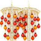Red Earring Fish Hook Pearl Crystal Studs Bead 2 Inch Drop Nickel And Lead Complaint  4715-0804GDRED