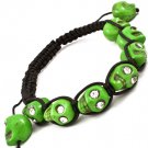 Green Bracelet Cord Shambella Adjustable Crystal Studs Skulls 5 Inch Long 11622-1413GRN