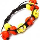 Orange Bracelet Cord Shambella Adjustable Crystal Studs Skulls 5 Inch Long 11622-1413OGA