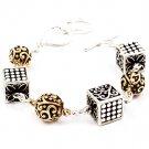 Gold Colored Bracelet Toggle Rectangular Shape Metal Ball Texture 7 Inch Long 210152-03161TTGOD