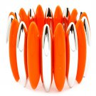 Orange Bracelet Stretch Acrylic Oval 2 Inch Width 32233-121207RDORG