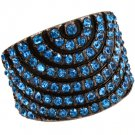 Blue Ring Adjustable Stretch Crystal Studs Convex Pave Set 18 Mm Tall 4152218-99278BNBLU