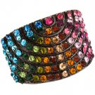 Multi Colored Ring Adjustable Stretch Crystal Studs Convex Pave Set 18 Mm Tall 4152218-99278BNMLT