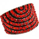 Red Ring Adjustable Stretch Crystal Studs Convex Pave Set 18 Mm Tall 4152218-99278BNRED