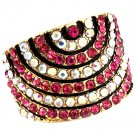 Fuschia Ring Adjustable Stretch Crystal Studs Convex Pave Set 18 Mm Tall 4152218-99278GDFSH