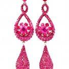 Fuschia Earring Linear Drop Post Earring Crystal Studs Tear Drop 4 Inch Drop / 53535-9806RDFSH