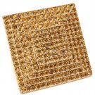 Brown Ring Adjustable Stretch Rhinestone Square Pave Set 1 3 4 Inch Tall / 113118-2120GDBRO