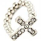 Clear Ring Adjustable Cross Bead Chain Crystal Studs 15 Mm Tall / 113118-6022RDCLR