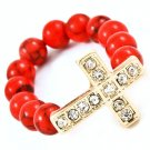 Red Ring Adjustable Cross Bead Chain Crystal Studs 15 Mm Tall / 113118-6024GDRED