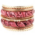 Fuschia Bracelet Bangle Stackable Crystal Studs Texture Vinyle Cover 2 Inch Width / 11622-0739GDFSH