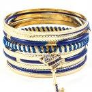 Blue Bracelet Bangle Stackable Key Heart Various Hoop Enamel Crystal Studs 2 Inch Wi 11622-1777GDBLU