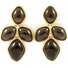 Black Earring Stud Abstract Shape Epoxy Stone 1 3 4 Inch Drop / 121175-8297GDBLK