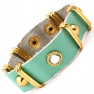 Green Bracelet Button Circular Faux Leather Faceted 8 3 4 Inch Long 21 Mm Width / 1214228-107GDGNA