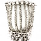 Silver Colored Bracelet Stretch Pyramid Shape Bead Cone Shape Two Bracelets Connect 1214228-484SOSIV