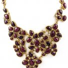 Purple Necklace Metal Casting Various Cut Formica Moving Joint Crystal Studs Faceted 15814-1655GDPUR