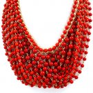 Red Necklace Choker Multi Strand Bead Chunky 14 Inch Long / 15814-1928GDRED
