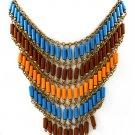 Multi Colored Necklace Bead Bib Formica Metal Casting 16 Inch Long / 15814-3761BOMTB