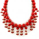 Red Necklace Bead Marbles 18 Inch Long / 15814-4103GDRED