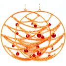 Orange Earring Fish Hook Hoop Crystal Studs Interlaced Prong Set 3 3 4 Inch Drop 1995-99111GDORG