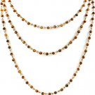 Brown Necklace Multi Strand Formica Bead 15 Inch Long / 2191014-8598GDBRO