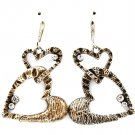 Silver Colored Earring Fish Hook Metal Casting Heart Crystal Stud Texture 1 1 2 Inc 219205-3254SOSIV