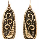 Gold Colored Earring Fish Hook Metal Casting Oval Matte Finish Texture 1 3 4 Inch D 219205-3279BOGOD