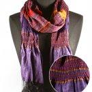 Purple Fashion Scarf Southwestern Stripe Scarf 100% Polyester 12 Inch X 67 Inch / 221627-456PUR