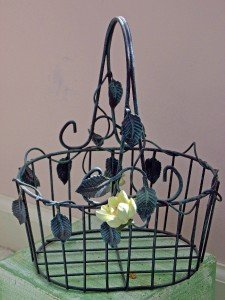 BEAUTIFUL Metal Basket with Scrolling Vine FLORAL Decor