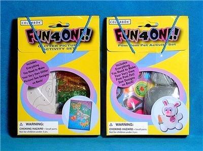 2 - FUN 4 ONE Craft Kits POM POM PET & GLITTER PICTURE
