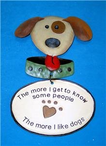 NEW IN BOX Adorable PUPPY The More I LIKE DOGS Metal TIN SIGN Plaque