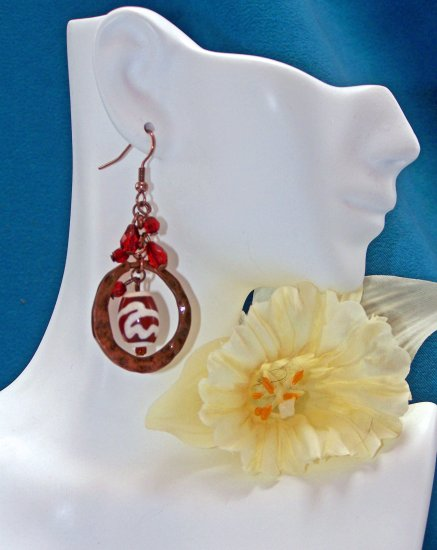 New! RUBY Crystal HAMMERED Copper Striped Bead EARRINGS