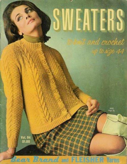 Vintage 60s Sweaters Cardigan Knitting Crochet Patterns