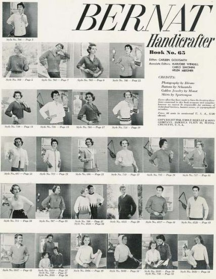 Bernat 65 Bulky Knitting Patterns Mirsa Shorties Sweater Jacket Women Men 1958