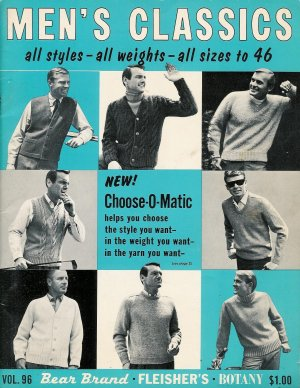 VINTAGE 60s MEN'S PULLOVERS CARDIGAN KNITTING PATTERNS